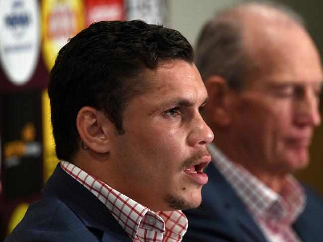Brisbane Broncos player James Roberts (left) and coach Wayne Bennett are seen during a press conference in Brisbane, Thursday, July 27, 2017. Roberts signed a four year deal with the club. (AAP Image/Dan Peled) NO ARCHIVING