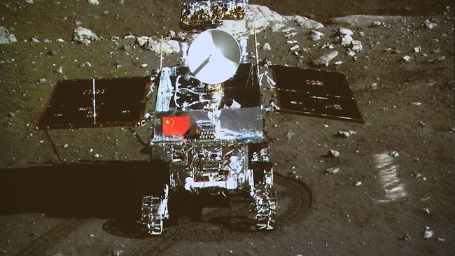 China, we have a problem... China's first moon rover 'Yutu' - or Jade Rabbit - on the lunar surface in the area known as Sinus Iridum (Bay of Rainbows).