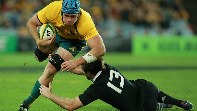 James Horwill on the charge for the Wallabies against the All Blacks.
