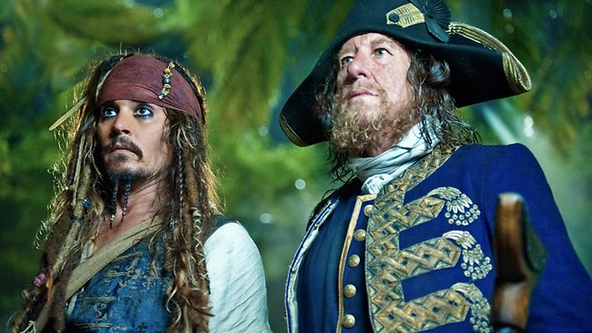Johnny Depp as Captain Jack Sparrow and Geoffrey Rush as Captain Hector Barbossa in a scene from Pirates of the Caribbean: On Stranger Tides. Picture: AP Photo/Disney/Peter Mountain