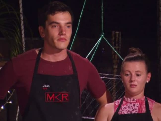 Amy is on the verge of tears as Josh gets an almighty serve from getting another bad verdict from judges Pete Evans and Manu Feildel. Picture: Channel 7