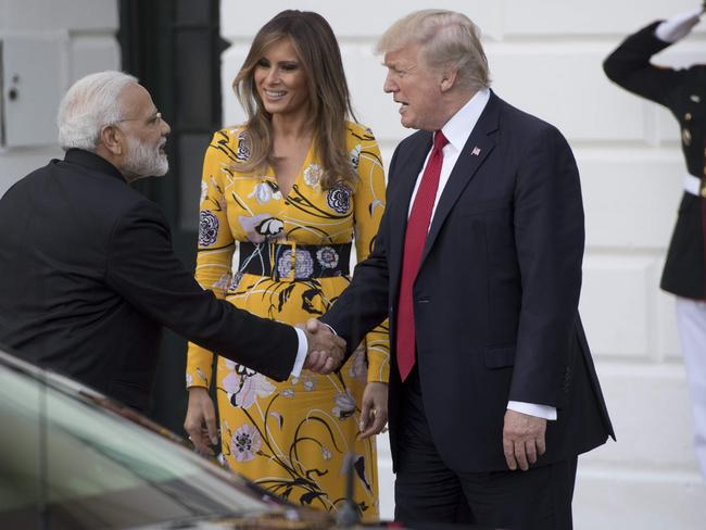 US President Donald Trump and First Lady Melania Trump bid farewell to Indian Prime Minister Narendra Modi on the South Lawn of the White House. Picture: AFP