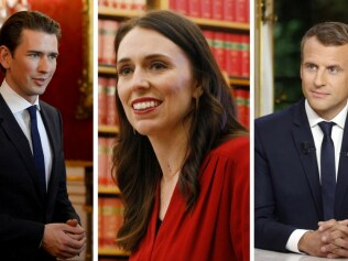 Sebastian Kurz, (left), Jacinda Ardern (centre) and Emmanuel Macron (right). Photo: Getty