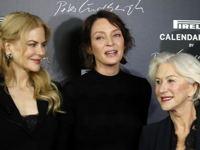 Nicole Kidman, Uma Thurman and Helen Mirren pose during a photo call in Paris. Picture: AP