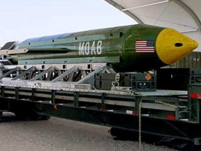 The GBU-43/B Massive Ordnance Air Blast bomb, known as the Mother Of All Bombs. Picture: AP