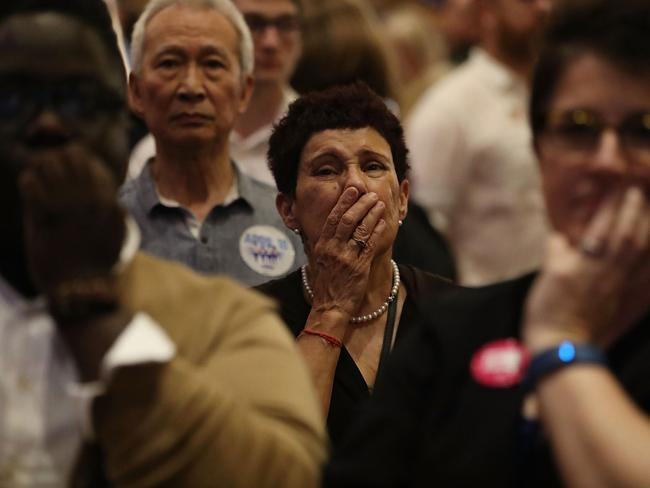 Supporters of Democratic candidate Jon Ossoff watch the returns come in. Picture: Getty