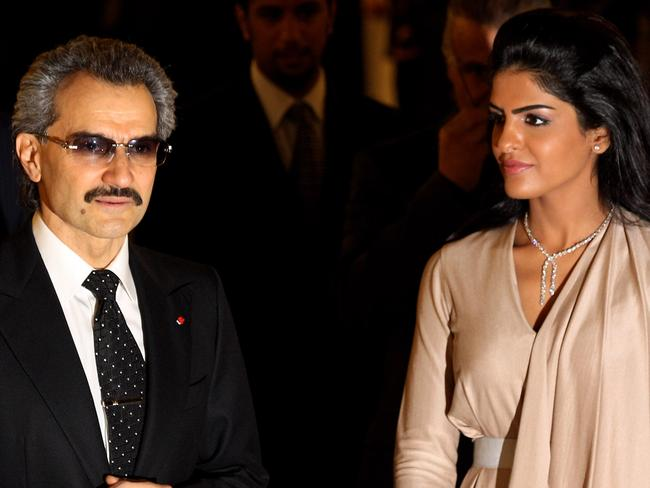 Prince Alwaleed Bin Talal, part-owner of celebrated five-star hotel The Savoy in London, with his former wife, Princess Amira in 2010. Picture: Oli Scarff/Getty Images