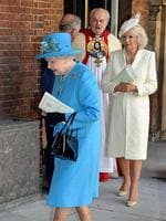 Queen Elizabeth II (L) and the Camilla, Duchess of Cornwall leave Chapel Royal. Picture: AFP