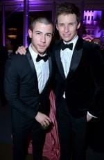 Actor/singer Nick Jonas (L) and actor Eddie Redmayne attend the 2016 Vanity Fair Oscar Party. Picture: Jeff Vespa/VF16/WireImage
