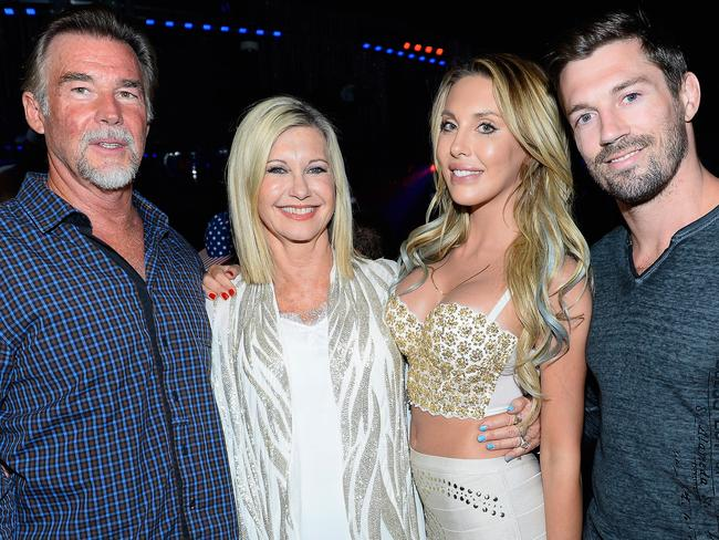 John Easterling, and his wife, singer/actress Olivia Newton-John, daughter, singer Chloe Lattanzi and her fiance James Driskill in 2015. Picture: Supplied