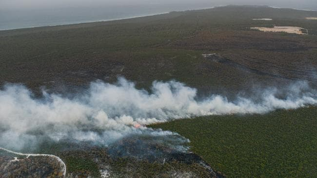 The January North Stradbroke Island fire from the air. Picture: Angie Simms