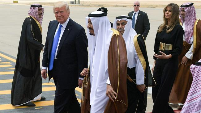 US President Donald Trump is welcomed by Saudi King Salman bin Abdulaziz al-Saud. Picture: AFP