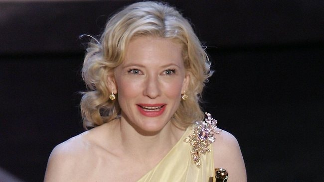 Cate Blanchett accepts her Oscar for Best Supporting Actress for her role in film The Aviator. Picture: AFP