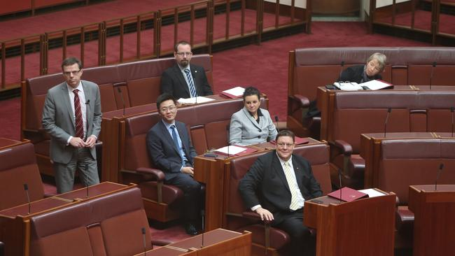 New Senators Ricky Muir, Jacqui Lambie, Zhenya Wang and Glenn Lazarus and Janet Rice, during their introduction into how the Senate runs in the Senate Chamber of Parliament House in Canberra. Picture: Gary Ramage