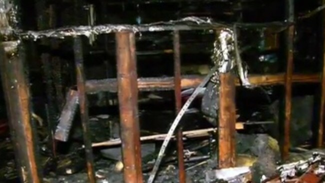 A family has been lucky to escape after fire destroyed their bungalow. Picture: Channel 9