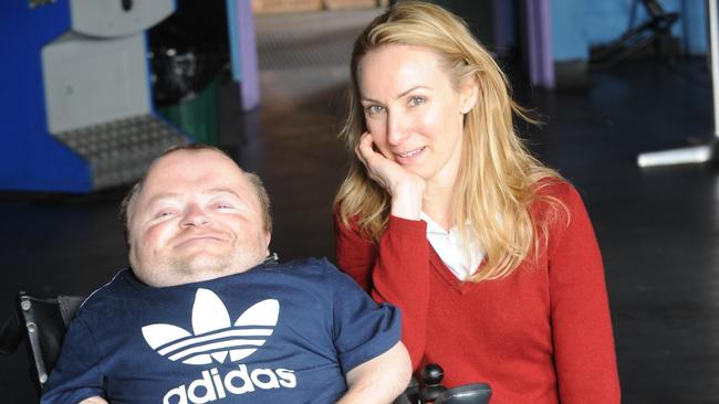 Actor Lisa McCune with Quentin Kenihan in South Australia.