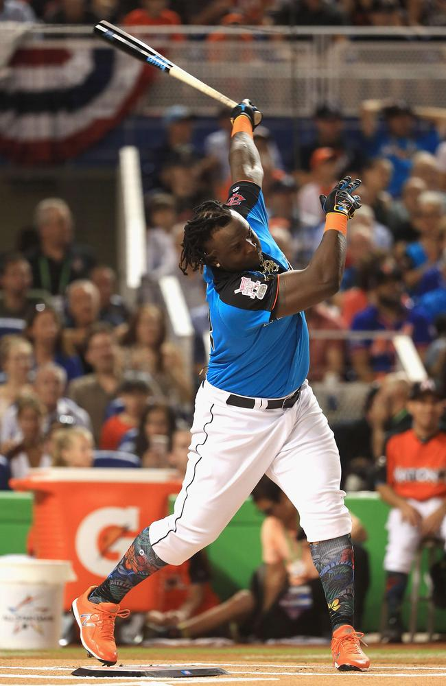 Miguel Sano #22 of the Minnesota Twins competes in the T-Mobile Home Run Derby.