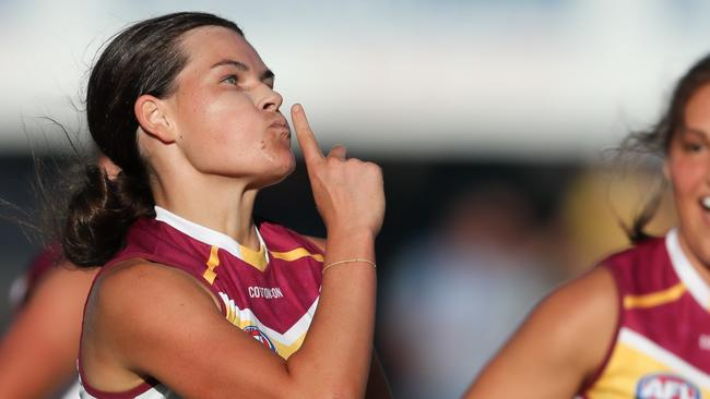 Sophie Conway says she was thinking of her mum as soon as she kicked the goal against the Crows.