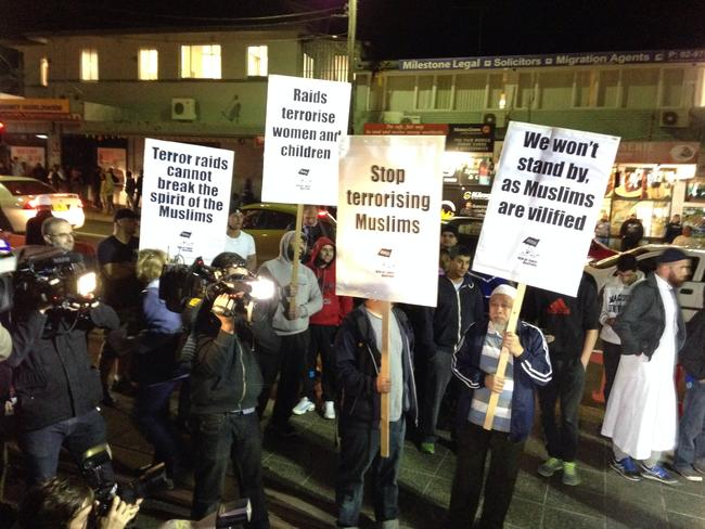 Muslim protest at Lakemba train station.