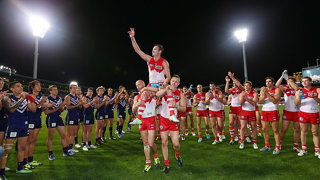 Swans veteran Jude Bolton chaired off after the match. Picture: Getty