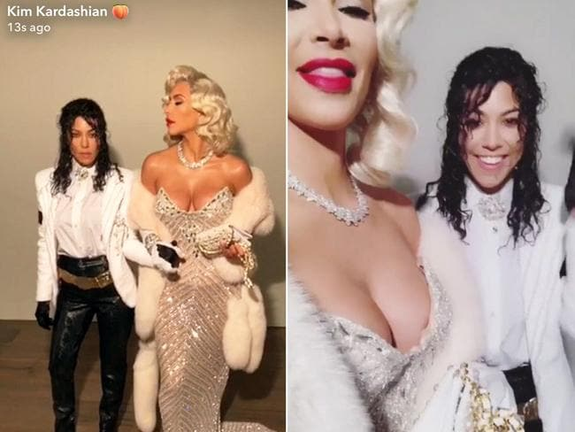 Kim Kardashian and Kourtney Kardashian as Michael Jackson and Madonna for Halloween 2017.