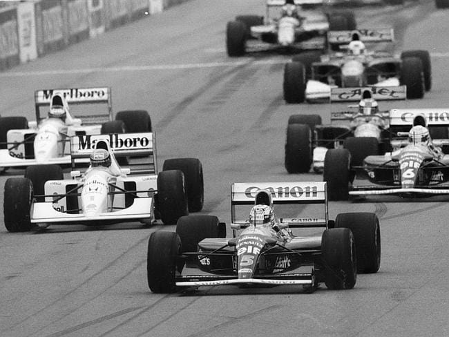Senna was in hot pursuit of Mansell from the start.