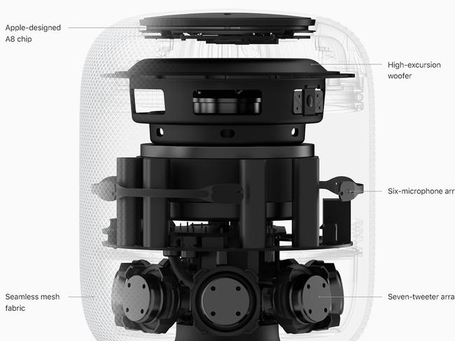 Apple developed the HomePod in its audio labs in Cupertino, California.