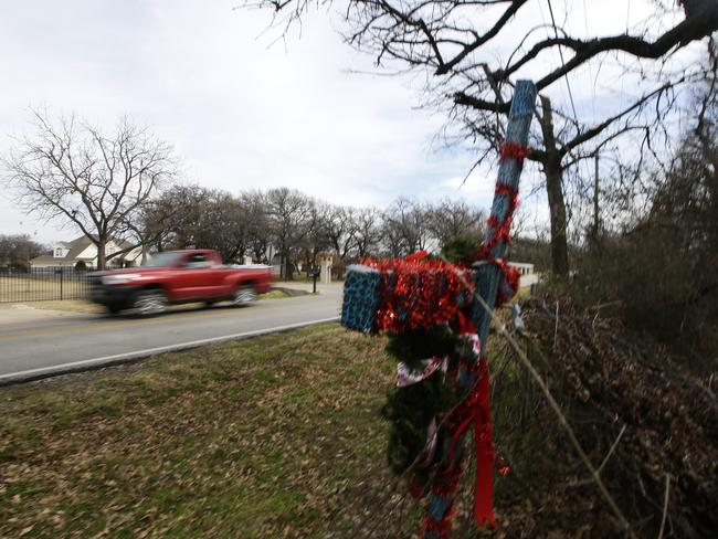 The spot where Ethan Couch crashed his red truck in 2013. Picture: LM Otera/AP