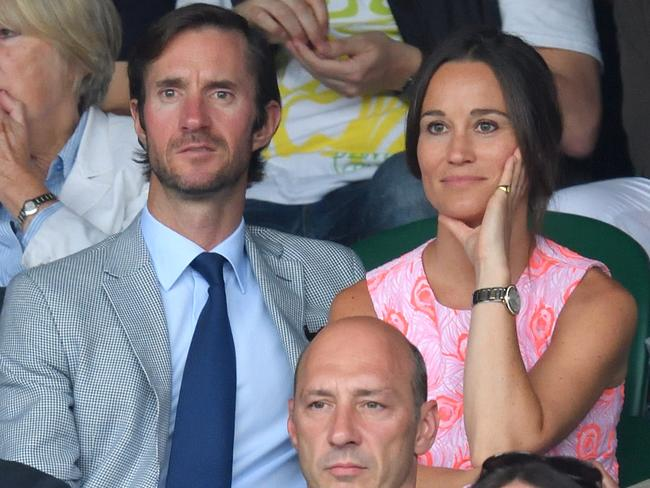 Pippa Middleton and James Matthews watch the action at the Wimbledon Tennis Championships in London in July last year. Picture: Karwai Tang/WireImage.
