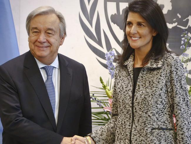 Former South Carolina Governor Nikki Haley, right, poses with United Nations Secretary General Antonio Guterres, left, after presenting him with her credentials as the new US Ambassador to the United Nations. Picture: AP