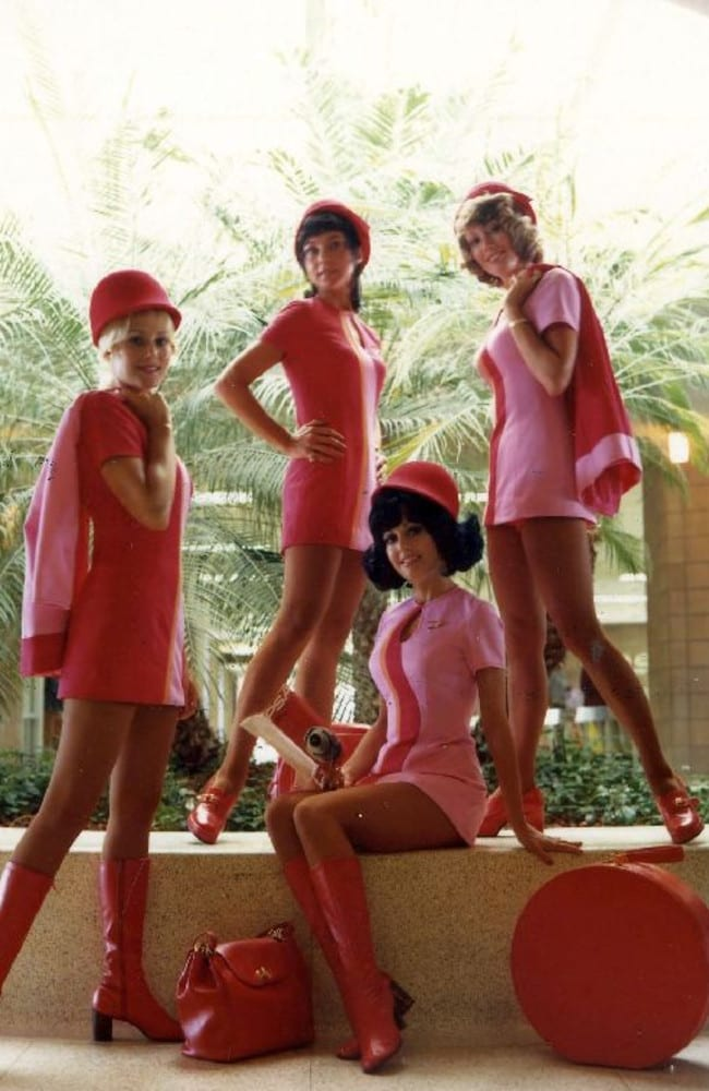PSA flight attendants were known for their long legs and short hemlines. Photo: San Diego Air & Space Museum