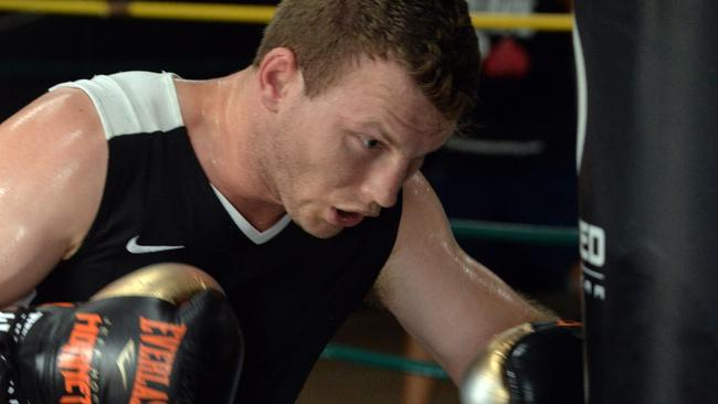 Jeff Horn training for his clash with Manny Pacquiao. Picture: Evan Morgan