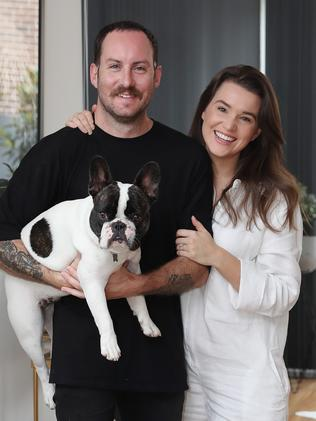 Nathan and Rebecca Devlin in their rental home in Beaconsfield. Picture: Brett Costello