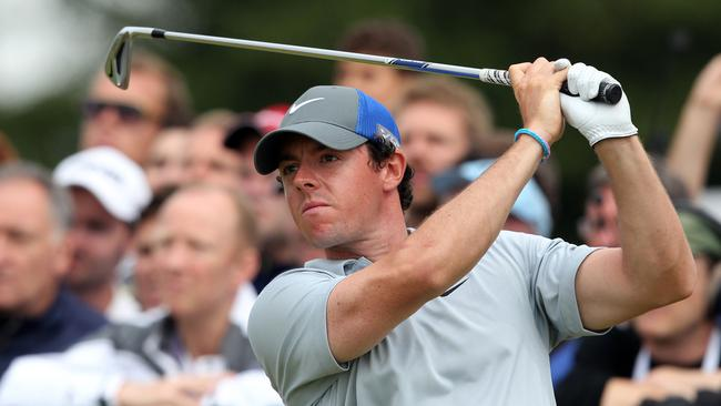 Northern Ireland's Rory McIlroy watches his shot from the 17th tee at the British Open.