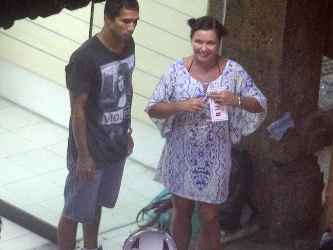 Happier times ... Schapelle Corby with her boyfriend Ben Panangian in Kuta, Bali. Picture: News Corp Australia