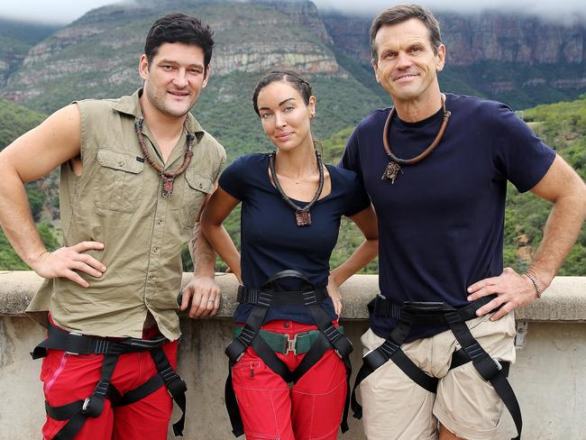 Final three: Brendan Fevola, Laurina Fleure and Paul Harragon. Picture: Nigel Wright / Network Ten