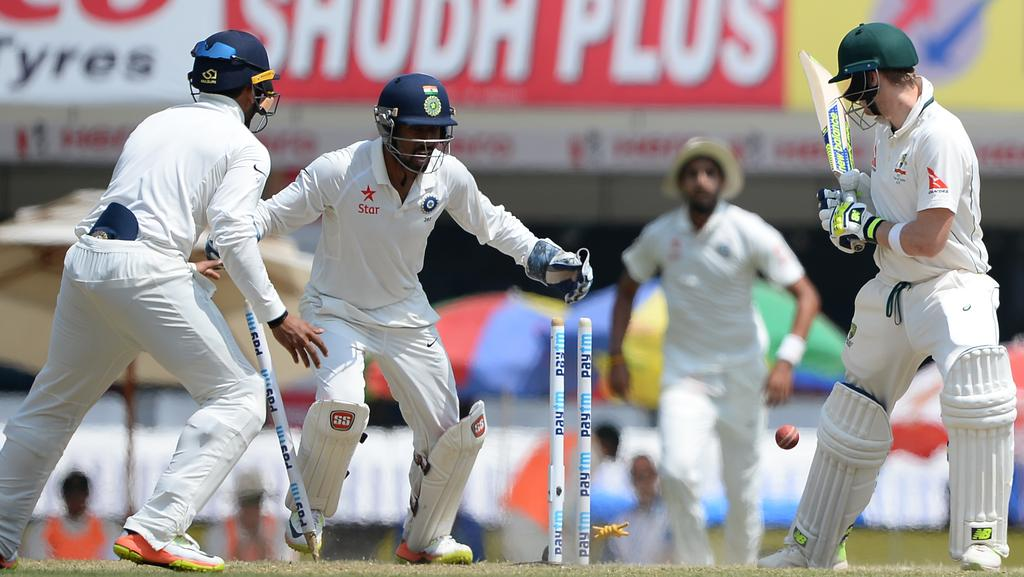 Steve Smith is bowled by Jadeja.