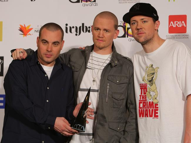 The band with their 2009 Aria Award for Best Urban Release. Picture: News Corp Australia