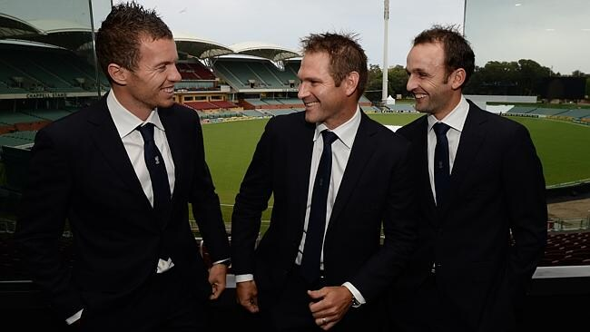 Australian players, from left, Peter Siddle, Ryan Harris and Nathan Lyon at SACA's official Test match dinner at...