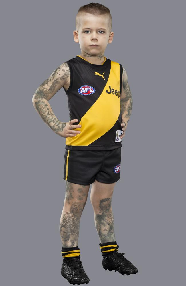 Ollie as Richmond star Dustin Martin. Picture: Supplied/NAB 2017 Mini Legends campaign