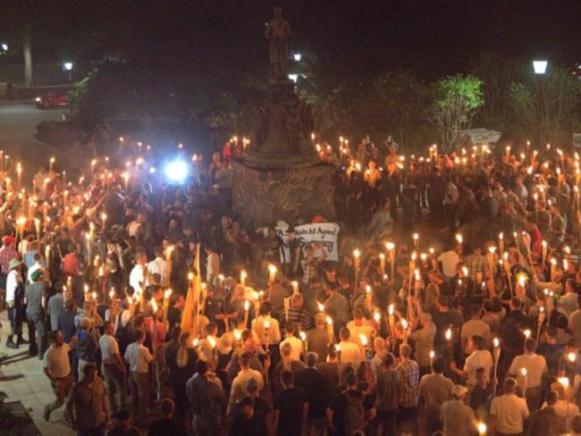 White nationalists rallied at Thomas Jefferson statue on the grounds of University of Virginia in Charlottesville. Photo: Alejandro Alvarez/News2Share via Reuters.
