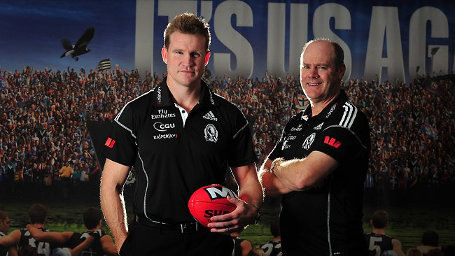 Collingwood coach Nathan Buckley with Rodney Eade. Picture: George Salpigtidis