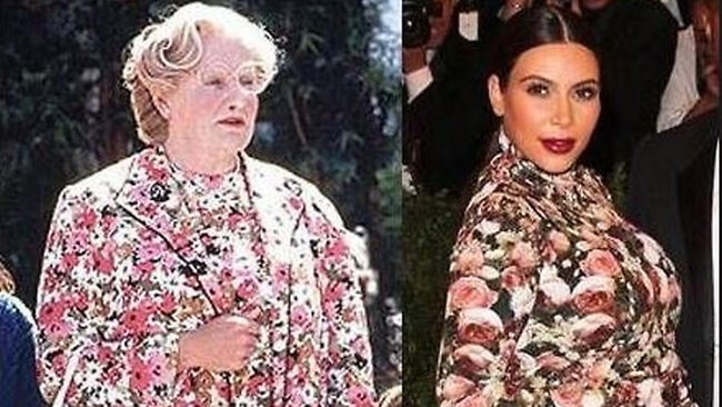 Robin Williams tweeted this photo after Kim Kardashian wore her floral Givenchy dress to the Met Costume Gala, saying he wore it better. Picture: Twitter