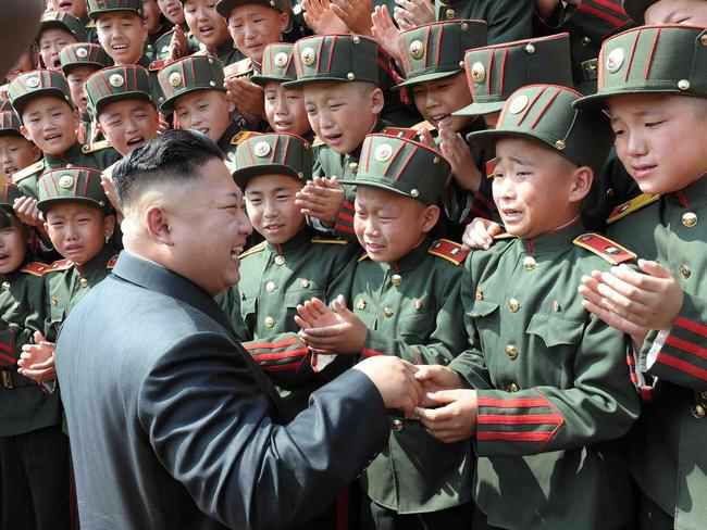 Kim Jong-Un visiting the Mangyongdae Revolutionary School in Pyongyang.