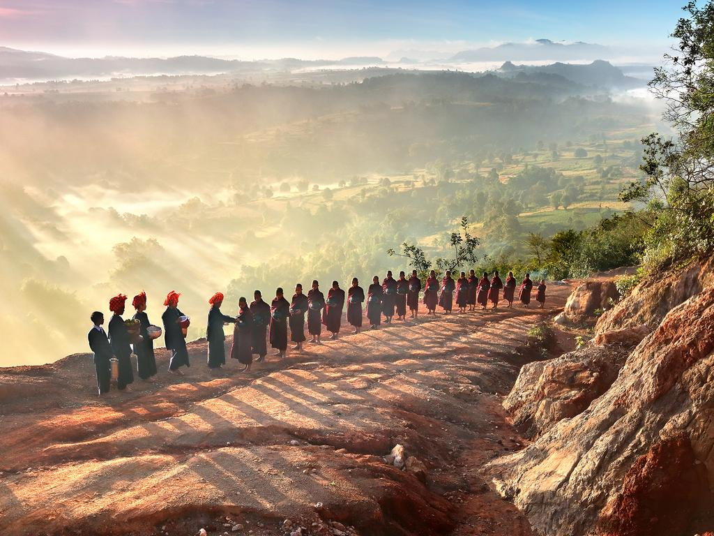"""Morning candid of monks and novices while accepting offerings in Myanmar."" Picture: Kyaw Bo Bo Han, Myanmar, Shortlist, Open Arts and Culture, 2016 Sony World Photography Awards"
