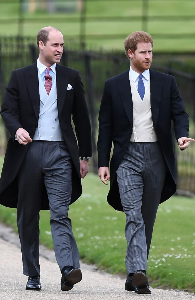 Prince William and Prince Harry walk to the church for the wedding of Pippa Middleton. Picture: Justin TALLIS/AFP
