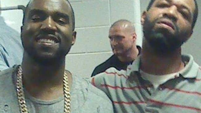 Kanye West and his one-time stepbrother Hal Carmichael. Picture: Twitter.