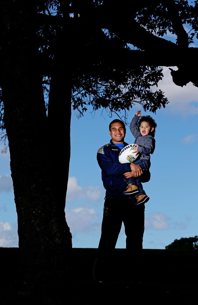 Parramatta NRL player Peni Terepo pictured with son Wesley.