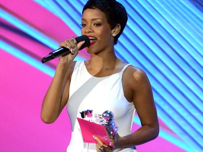 Singer Rihanna accepts the award for Video of the Year onstage during the 2012 MTV Video Music Awards. (Photo by Kevin Winter/Getty Images)