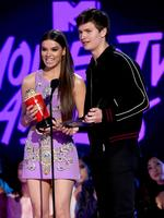Hailee Steinfeld and Ansel Elgort speak onstage during the 2017 MTV Movie And TV Awards at The Shrine Auditorium on May 7, 2017 in Los Angeles, California. Picture: Getty